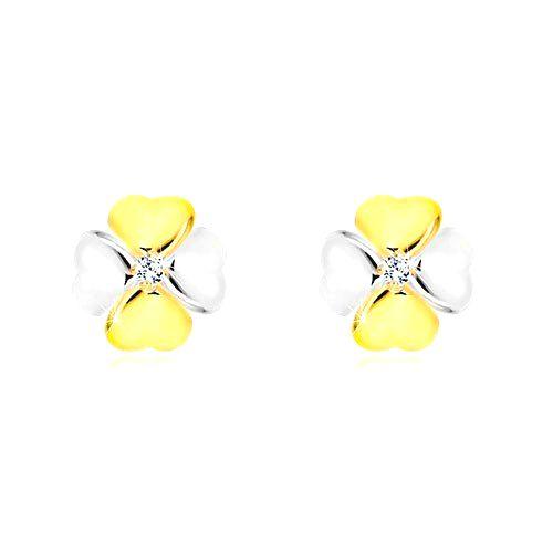 Briliantové náušnice v kombinovanom zlate 585 - symbol šťastia s diamantom