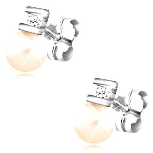 Briliantové náušnice z bieleho zlata 585 - číry diamant medzi paličkami