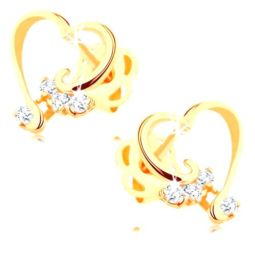 Briliantové náušnice zo 14K zlata - lesklá kontúra srdca