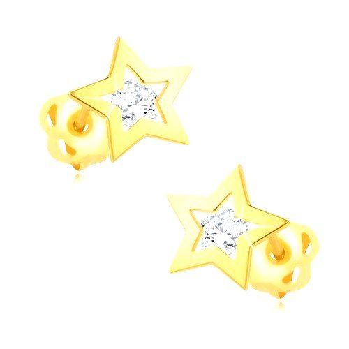 Briliantové náušnice zo žltého 14K zlata - obrys hviezdičky