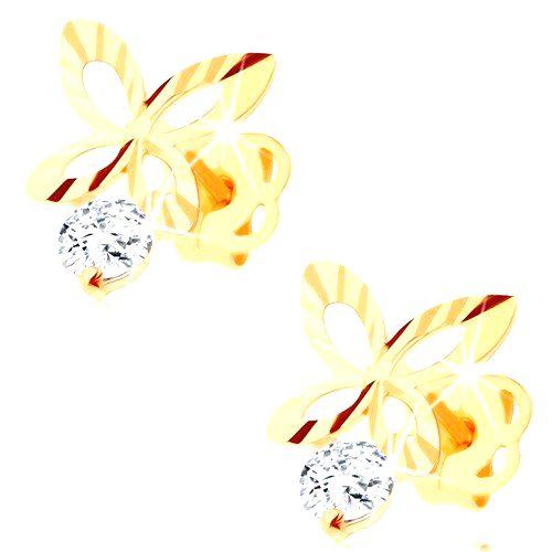 Briliantové zlaté náušnice 585 - ligotavý obrys motýľa