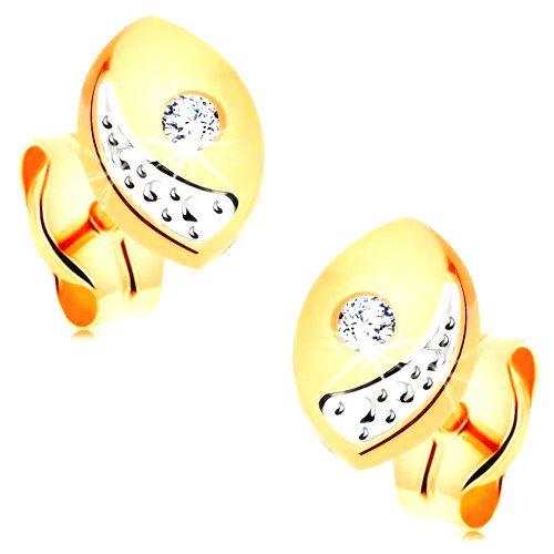 Briliantové zlaté náušnice 585 - širšie oblé zrnko s čírym diamantom