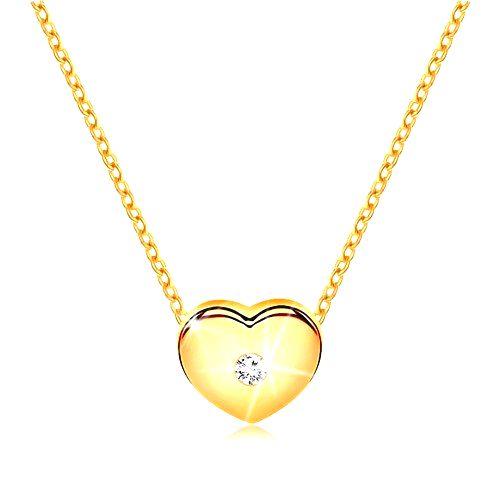 Briliantový náhrdelník zo žltého 14K zlata - srdiečko s čírym diamantom