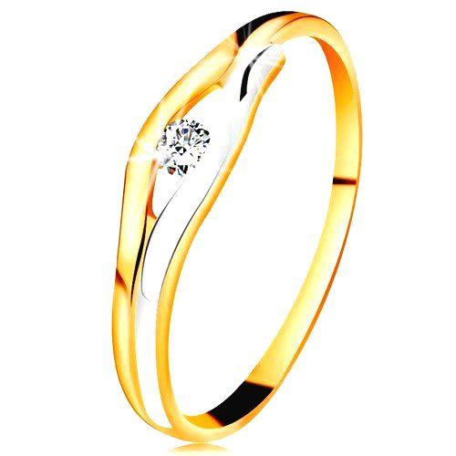 Briliantový prsteň v 14K zlate - diamant v úzkom výreze