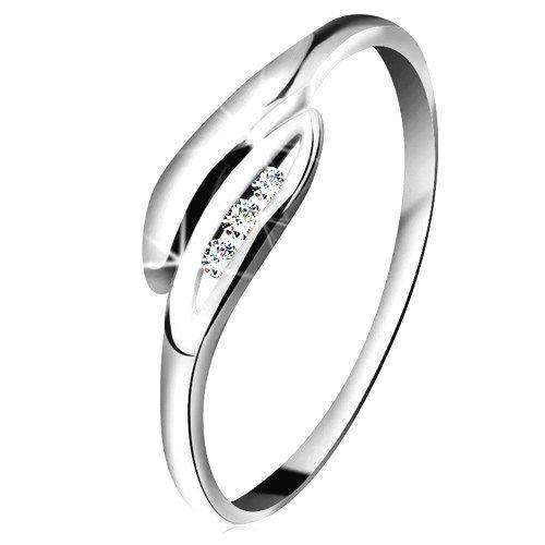 Briliantový prsteň v bielom 14K zlate - mierne zahnuté lístočky