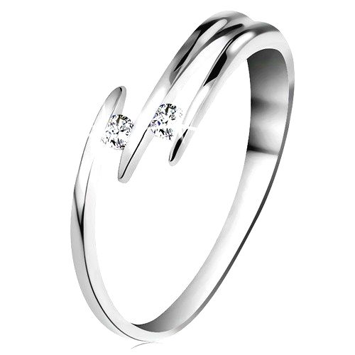 Briliantový prsteň z bieleho 14K zlata - dva ligotavé číre diamanty