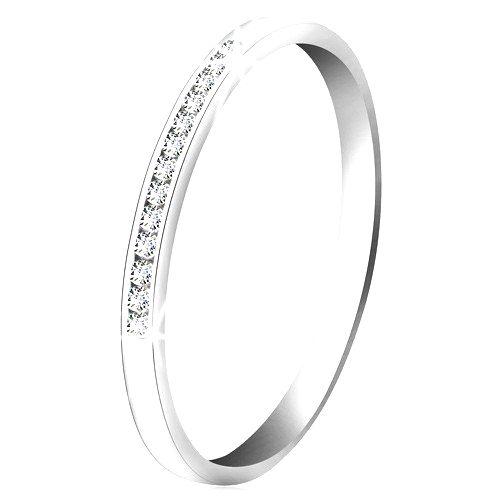 Briliantový prsteň z bieleho 14K zlata - ligotavá línia drobných čírych diamantov - Veľkosť: 64 mm