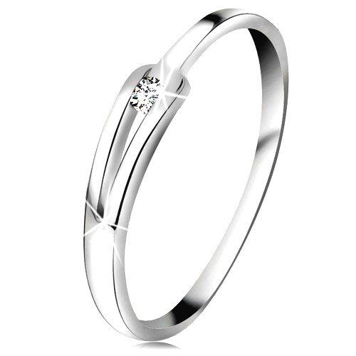 Briliantový prsteň z bieleho 14K zlata - ligotavý číry diamant