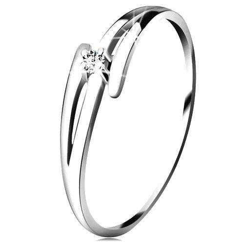 Briliantový prsteň z bieleho 14K zlata - rozdelené zvlnené ramená