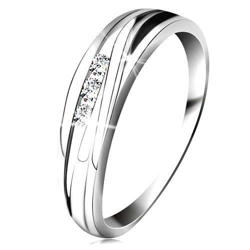 Briliantový prsteň z bieleho 14K zlata