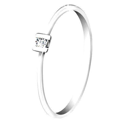 Briliantový prsteň z bieleho zlata 585 - trblietavý číry diamant uchytený paličkami - Veľkosť: 65 mm