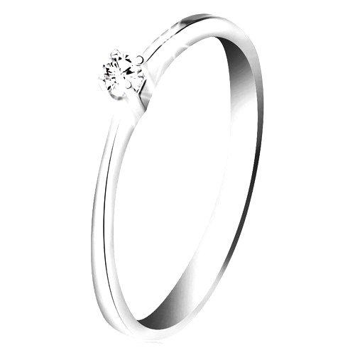 Briliantový prsteň z bieleho zlata 585 - trblietavý číry diamant v štvorcípom kotlíku - Veľkosť: 60 mm