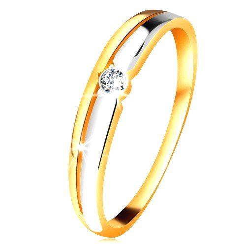 Briliantový prsteň zo 14K zlata - číry diamant v okrúhlej objímke