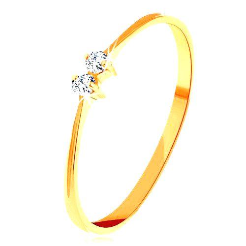 Briliantový zlatý prsteň 585 - tenké lesklé ramená