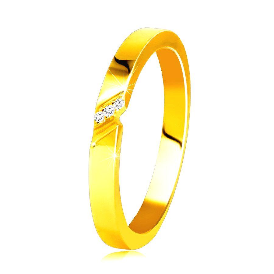 Diamantová obrúčka v 14K žltom zlate - prsteň s jemným zárezom