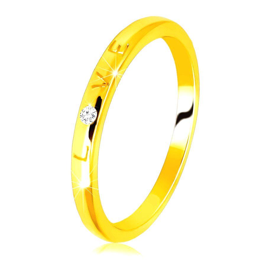 Diamantová obrúčka v žltom 14K zlate - nápis