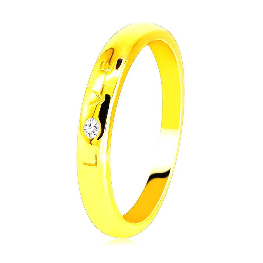 Diamantová obrúčka v žltom 585 zlate - nápis