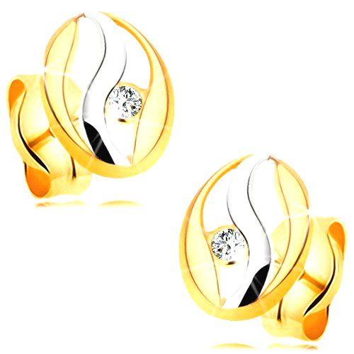 Diamantové náušnice v 14K zlate - obrys oválu s vlnkou z bieleho zlata