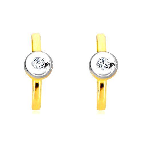 Diamantové náušnice v 14K zlate - pás s briliantom v objímke z bieleho zlata