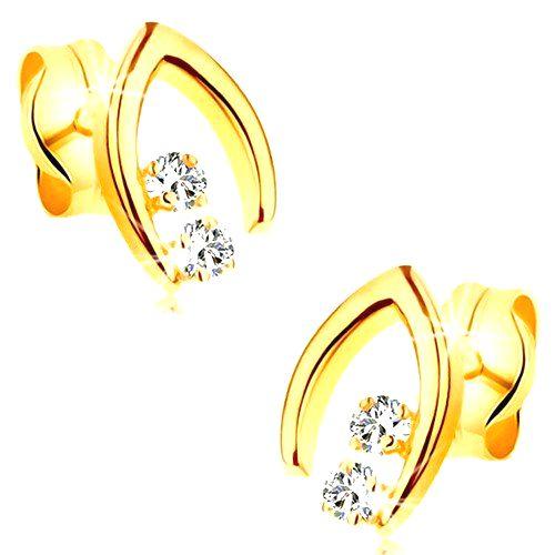 Diamantové náušnice v žltom 14K zlate - dvojica briliantov v špicatej podkovičke