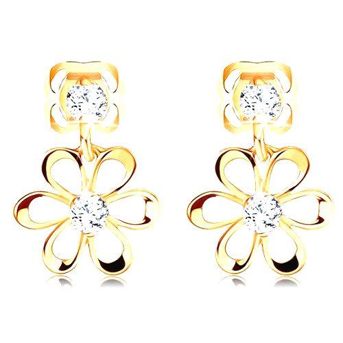Diamantové náušnice v žltom 14K zlate - kvietok s oblými lupeňmi