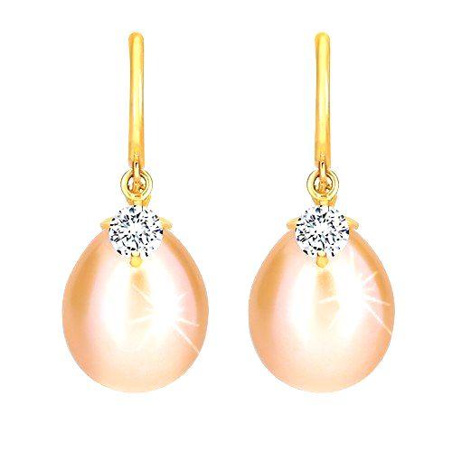 Diamantové náušnice v žltom 14K zlate - lesklý oblúčik