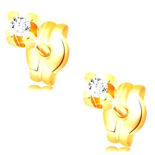 Diamantové náušnice v žltom 14K zlate - okrúhly briliant čírej farby