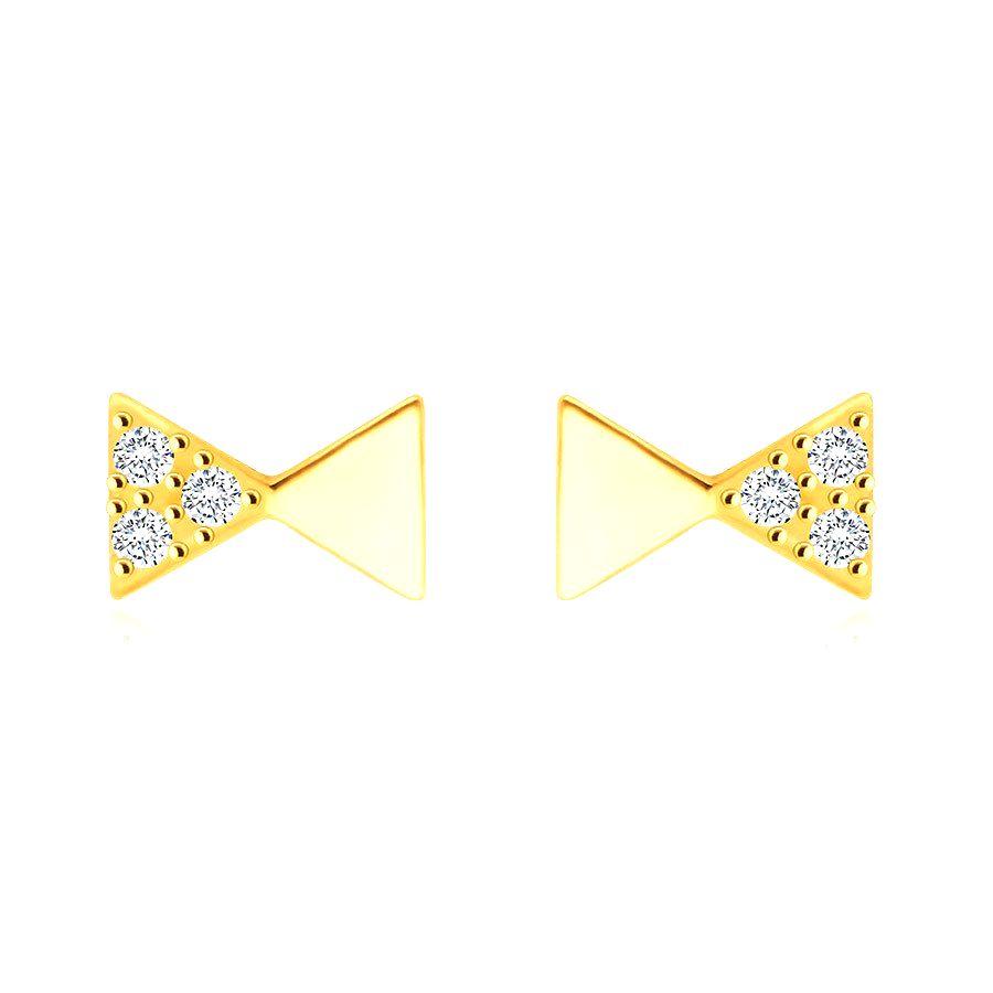 Diamantové náušnice z 585 žltého zlata - motív pánskeho motýlika