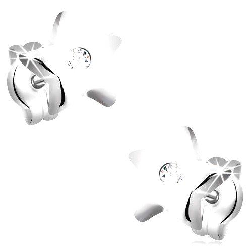 Diamantové náušnice z bieleho 14K zlata - lesklé hviezdičky