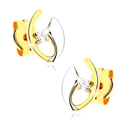 Diamantové náušnice zo 14K zlata - číry briliant v neúplnej kontúre zrnka