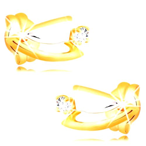 Diamantové náušnice zo 14K zlata - dvojfarebné trojuholníčky