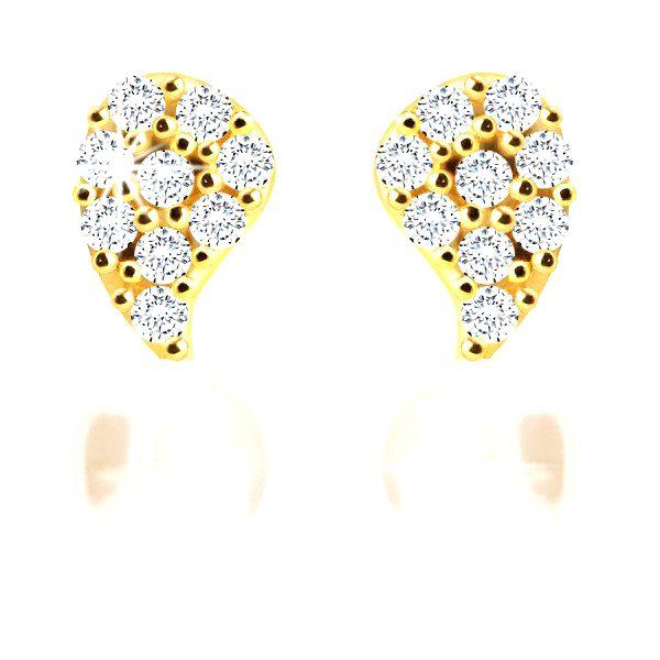 Diamantové náušnice zo 14K zlata - obrátená slzička