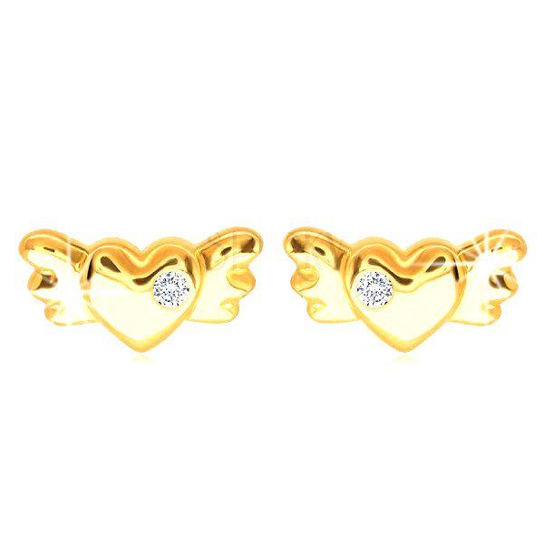 Diamantové náušnice zo 14K žltého zlata - srdiečko s krídlami a briliantom čírej farby