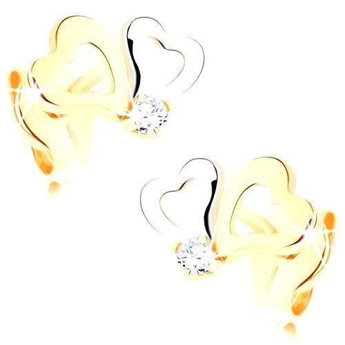 Diamantové náušnice zo zlata 585 - dvojfarebné kontúry sŕdc