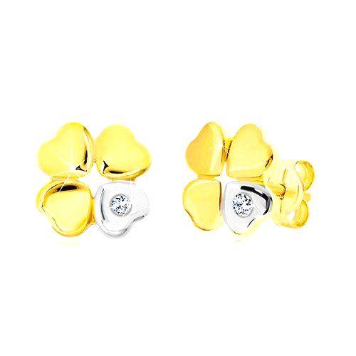 Diamantové náušnice zo zlata 585 - štvorlístok pre šťastie