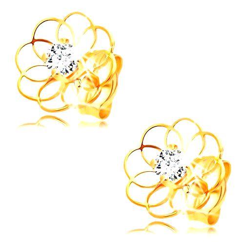 Diamantové náušnice zo žltého 14K zlata - kontúra kvietku s briliantom