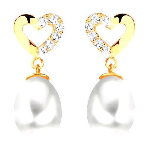 Diamantové náušnice zo žltého 14K zlata - kontúra srdca s briliantmi