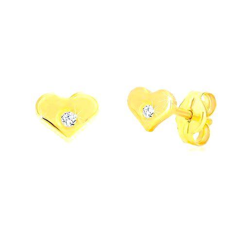 Diamantové náušnice zo žltého 14K zlata - lesklé srdiečko s briliantom