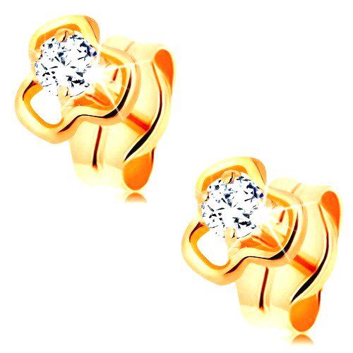 Diamantové náušnice zo žltého 14K zlata - okrúhly číry briliant v kontúre trojlístka