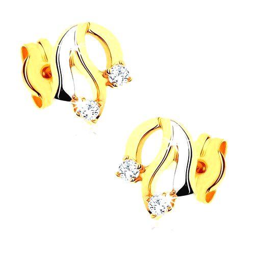 Diamantové zlaté náušnice 585 - lesklé zvlnené línie