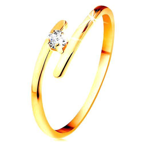 Diamantový prsteň v žltom 14K zlate - žiarivý číry briliant