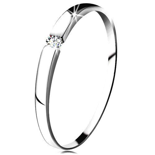 Diamantový prsteň z bieleho 14K zlata - briliant čírej farby