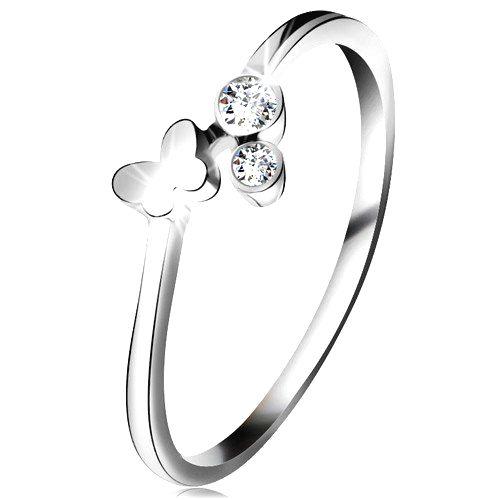 Diamantový prsteň z bieleho 14K zlata - dva číre brilianty