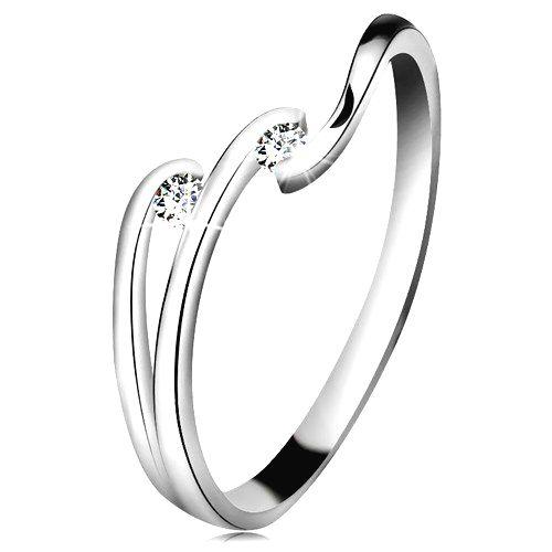 Diamantový prsteň z bieleho 14K zlata - dva ligotavé číre brilianty