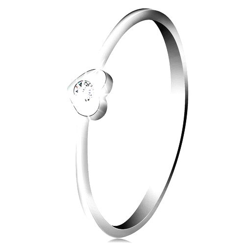 Diamantový prsteň z bieleho 14K zlata - srdiečko s čírym briliantom - Veľkosť: 60 mm