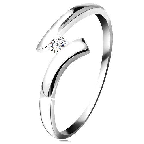 Diamantový prsteň z bieleho 14K zlata - žiarivý číry briliant