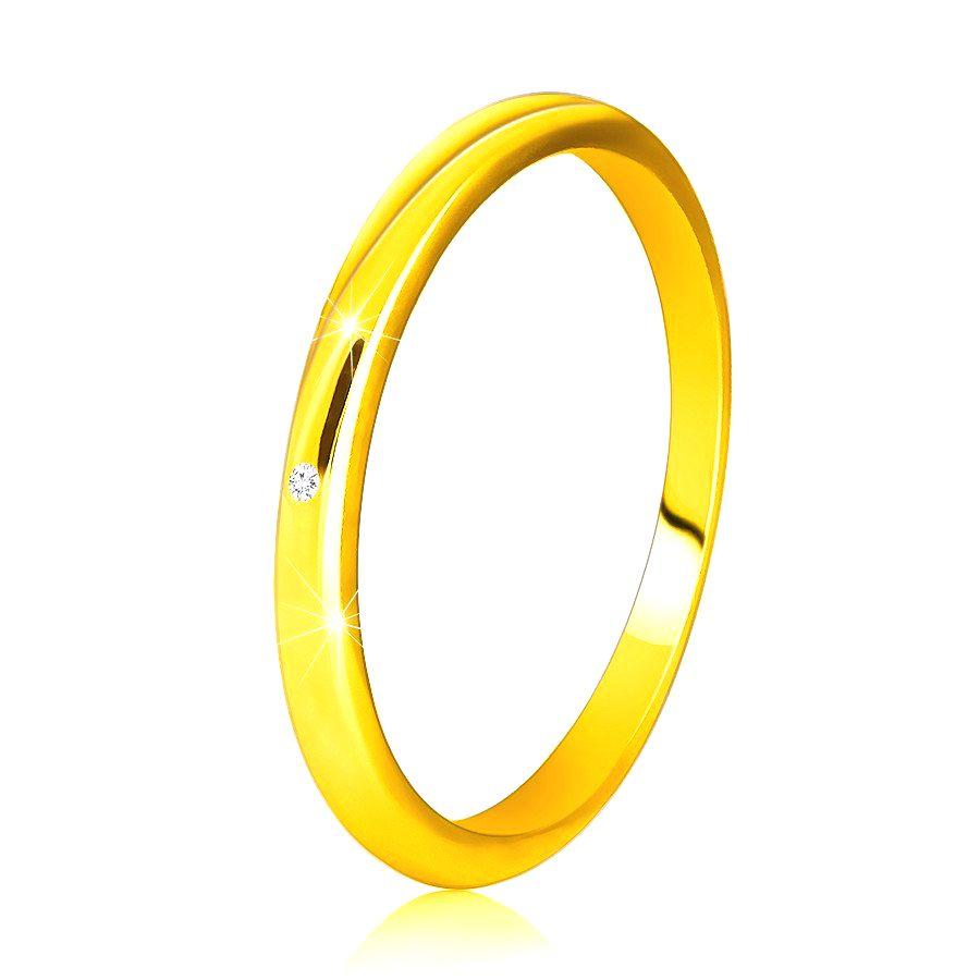 Diamantový prsteň zo žltého 14K zlata - tenké hladké ramená