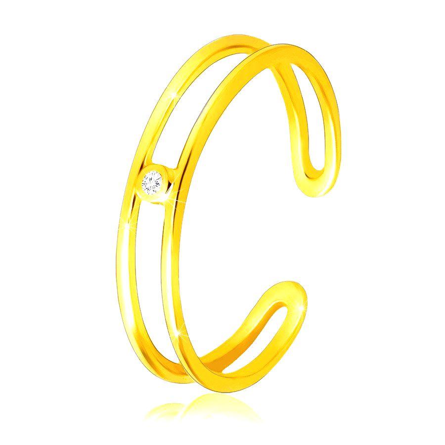 Diamantový prsteň zo žltého 14K zlata - tenké otvorené ramená