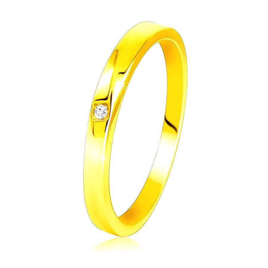 Diamantový prsteň zo žltého 585 zlata - jemne skosené ramená