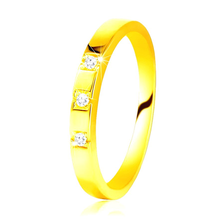 Diamantový prsteň zo žltého 585 zlata - lesklé ramená